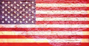 Drapeau de l'Amérique peint sur un mur de briques illustration 3D Image libre de droits