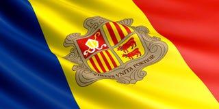 Drapeau de l'Andorre flottant en vent Image libre de droits