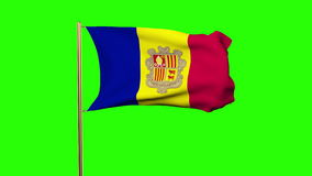 Drapeau de l'Andorre ondulant dans le vent Écran vert banque de vidéos