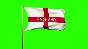 Drapeau de l'Angleterre avec le titre ondulant dans le vent banque de vidéos