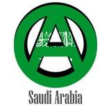 Drapeau de l'Arabie Saoudite du monde sous forme de signe d'anarchie illustration libre de droits