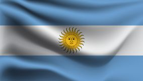 Drapeau de l'Argentine ondulant avec le drapeau de vague d'illustration du vent 3D illustration stock