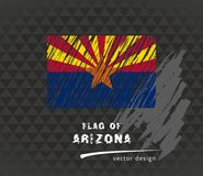 Drapeau de l'Arizona, illustration de stylo de vecteur sur le fond noir Photos stock