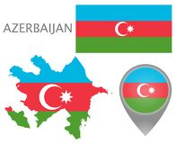Drapeau de l'Azerbaïdjan, carte et indicateur de carte illustration stock