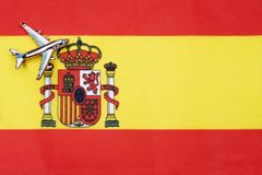 Drapeau de l'Espagne et de l'avion Le concept du voyage Photographie stock