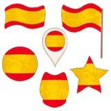 Drapeau de l'Espagne exécutée dans des formes de Defferent illustration stock