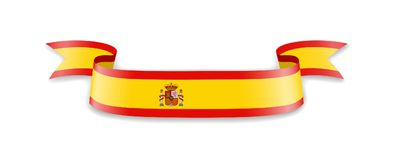 Drapeau de l'Espagne sous forme de ruban de vague Photos libres de droits