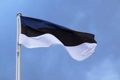 Drapeau de l'Estonie avec des rayures dans le symbole bleu, noir, blanc, national Photographie stock