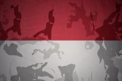 drapeau de l'Indonésie sur la texture kaki Concept militaire illustration de vecteur