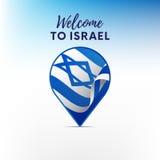 Drapeau de l'Israël dans la forme de l'indicateur ou du marqueur de carte Bienvenue vers l'Israël Vecteur Image libre de droits
