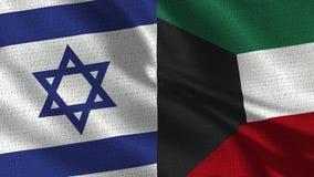 Drapeau de l'Israël et du Kowéit - deux drapeaux ensemble image libre de droits