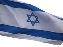 Drapeau de l'Israël sur un fond blanc Photographie stock