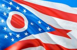 Drapeau de l'Ohio 3D ondulant la conception de drapeau d'état des Etats-Unis Le symbole national des USA de l'état de l'Ohio, ren illustration de vecteur