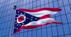 Drapeau de l'Ohio sur le fond de b?timent de gratte-ciel illustration 3D illustration libre de droits