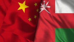 Drapeau de l'Oman et de la Chine - drapeau de l'illustration 3D illustration stock
