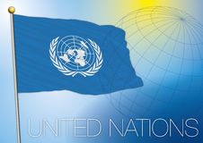 Drapeau de l'ONU les Nations Unies Photographie stock libre de droits