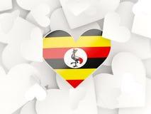 Drapeau de l'Ouganda, autocollants en forme de coeur illustration libre de droits
