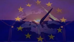 Drapeau de l'UE avec des moulins à vent banque de vidéos