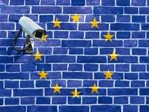 Drapeau de l'Union européenne peinte sur un mur de briques Images stock