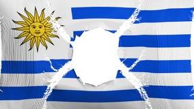 Drapeau de l'Uruguay avec un trou illustration de vecteur
