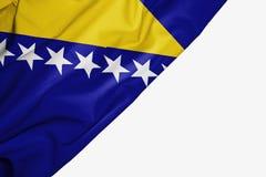 Drapeau de la Bosnie-Herz?govine de tissu avec le copyspace pour votre texte sur le fond blanc illustration libre de droits