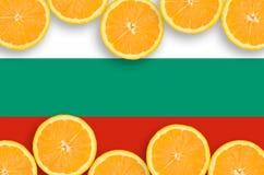 Drapeau de la Bulgarie dans le cadre horizontal de tranches d'agrumes images stock