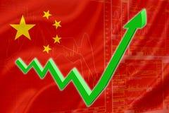 Drapeau de la Chine avec une flèche verte de tendance à la hausse Images libres de droits