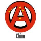 Drapeau de la Chine du monde sous forme de signe d'anarchie illustration stock