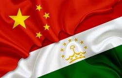 Drapeau de la Chine et drapeau du Tadjikistan Image libre de droits