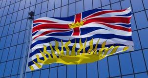 Drapeau de la Colombie-Britannique, Canada sur le fond de bâtiment de gratte-ciel illustration 3D illustration de vecteur