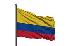 Drapeau de la Colombie ondulant dans le vent, fond blanc d'isolement indicateur colombien photos libres de droits