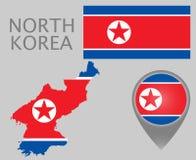 Drapeau de la Corée du Nord, carte et indicateur de carte illustration de vecteur