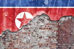 Drapeau de la Corée du Nord sur le mur sale Photos libres de droits
