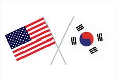 Drapeau de la Corée du Sud américaine et Vecteur eps10 de drapeau des Etats-Unis et de drapeau de la Corée du Sud illustration libre de droits