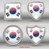 Drapeau de la Corée du Sud dans la collection de 4 formes avec le chemin de coupure Images stock