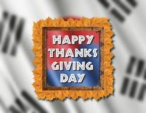 Drapeau de la Corée du Sud et jour heureux de thanksgiving avec les feuilles jaunes Images libres de droits