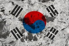 Drapeau de la Corée du Sud sur le vieux mur illustration libre de droits