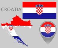Drapeau de la Croatie, carte et indicateur de carte illustration stock