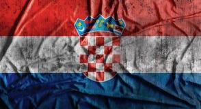 Drapeau de la Croatie chiffonné par grunge rendu 3d Photos stock