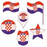 Drapeau de la Croatie exécutée dans des formes de Defferent illustration stock