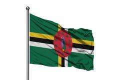 Drapeau de la Dominique ondulant dans le vent, fond blanc d'isolement Drapeau dominicain photos libres de droits