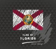 Drapeau de la Floride, illustration tirée par la main de croquis de vecteur sur le fond grunge foncé Images libres de droits