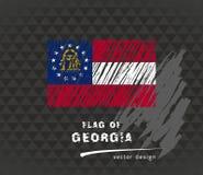 Drapeau de la Géorgie, illustration tirée par la main de croquis de vecteur sur le fond grunge foncé Photos stock