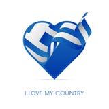Drapeau de la Grèce au coeur Aimez mon pays signe Illustration illustration stock