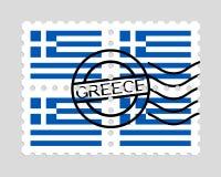 Drapeau de la Grèce sur des timbres-poste Photos libres de droits