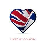 Drapeau de la Grande-Bretagne au coeur J'aime mon pays signe Vecteur illustration stock