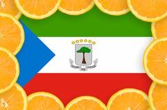 Drapeau de la Guinée équatoriale dans le cadre frais de tranches d'agrumes illustration libre de droits