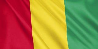Drapeau de la Guinée ondulant avec le vent, format large, illustration 3D Photographie stock libre de droits