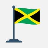 Drapeau de la Jamaïque d'isolement sur le fond blanc Images stock