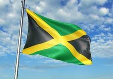 Drapeau de la Jamaïque ondulant avec le ciel sur l'illustration 3d réaliste de fond illustration stock